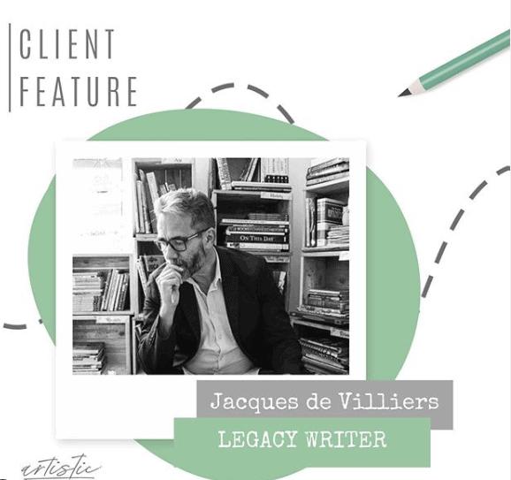 Brand journey for legacy writer, Jacques de Villiers